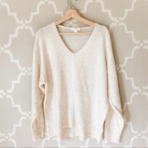 H&M Cozy Cream V-Neck Sweater